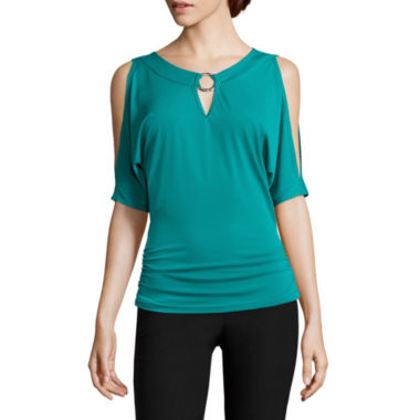 jcpenney.com | by&by 3/4-Sleeve Cold-Shoulder O-Ring Cinched Top - Juniors