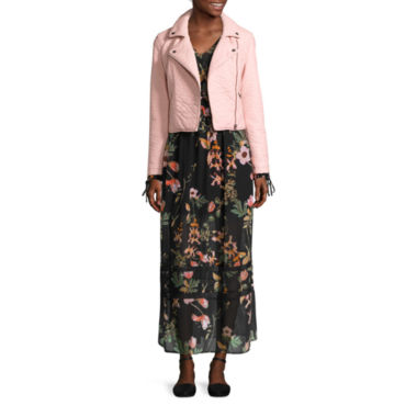 jcpenney.com | BELLE + SKY™ Pleather Moto Jacket or Long-Sleeve Floral Maxi Dress