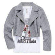 Beautees 3-pc. Moto Jacket with Racerback Tank Top and Necklace - Girls 7-16