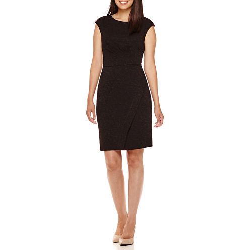 London Style Collection Cap-Sleeve Swirl Texture Side Pleat Sheath Dress - Petites