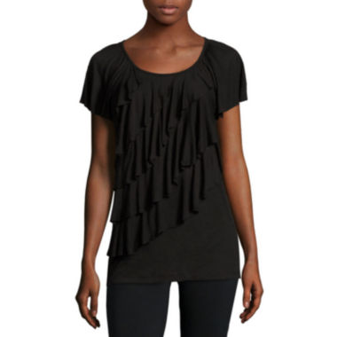 jcpenney.com | Alyx® Short-Sleeve Ruffled Knit Top