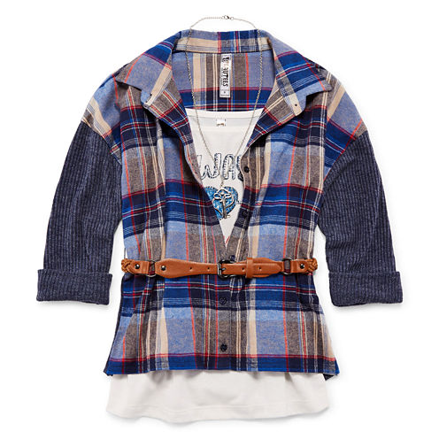 Beautees Long-Sleeve Belted Woven Button-Up with Cami & Necklace - Girls 7-16