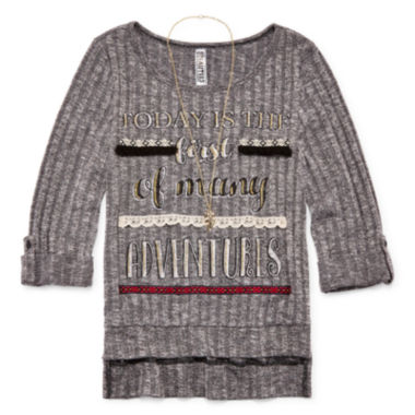 jcpenney.com | Beautees 3/4-Sleeve High-Low Graphic Top with Necklace - Girls 7-16