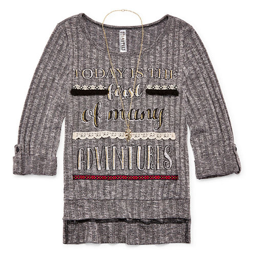 Beautees 3/4-Sleeve High-Low Graphic Top with Necklace - Girls 7-16