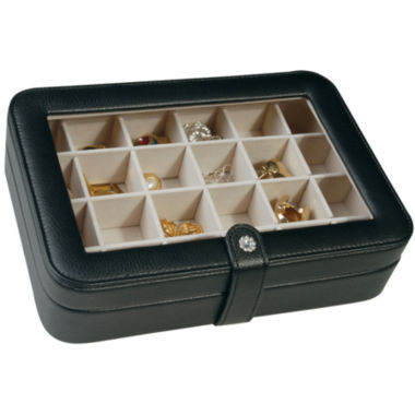 jcpenney.com | Black Faux-Leather Clear-Top Jewelry Box