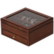 Walnut Finish Glass-Top Jewelry Box