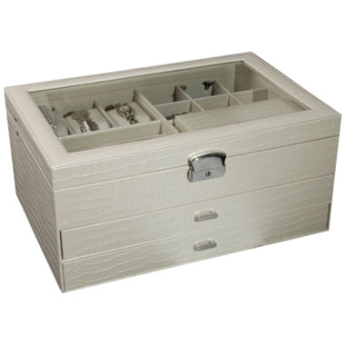 jcpenney.com | Ivory Locking Glass-Top Jewelry Box