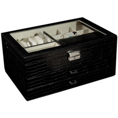jcpenney.com | Black Locking Glass-Top Jewelry Box