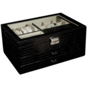 Black Locking Glass-Top Jewelry Box
