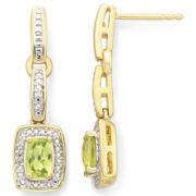 14K Gold-Plated Peridot & Diamond-Accent Earrings
