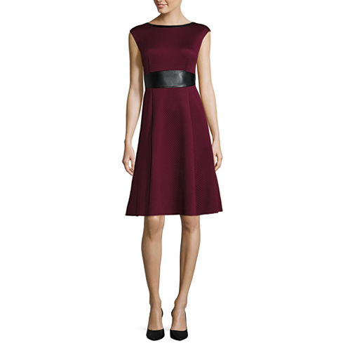 London Style Collection Cap Sleeve Faux Leather Waist Fit-and-Flare Dress