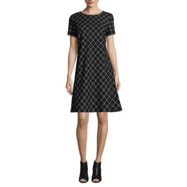 jcpenney.com | Jessica Howard Short Sleeve Windowpane Shift Dress
