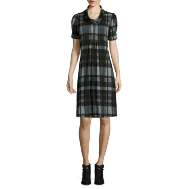 jcpenney.com | Jessica Howard Short-Sleeve Rollneck Plaid Shift Dress