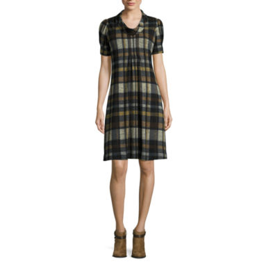 jcpenney.com | Jessica Howard Short-Sleeve Cowl Plaid Shift Dress