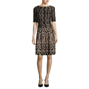 jcpenney.com | Danny & Nicole® Elbow-Sleeve Dot Fit-and-Flare Dress