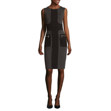jcpenney.com | Sharagano Sleeveless Colorblock Zip-Pocket Sheath Dress