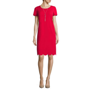 jcpenney.com | Alyx® Cap-Sleeve Scallop-Bottom Sheath Dress with Necklace