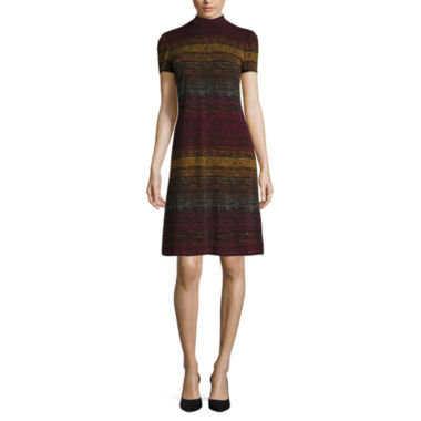 jcpenney.com | London Times Short-Sleeve Turtleneck Stripe Shift Dress