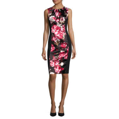 jcpenney.com | London Style Collection Sleeveless Floral-Inset Sheath Dress