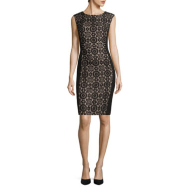 jcpenney.com | London Style Collection Cap-Sleeve Lace-Inset Sheath Dress