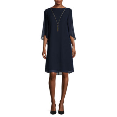 jcpenney.com | MSK 3/4-Split-Sleeve Shift Dress with Necklace