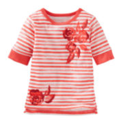 OshKosh B'Gosh® Half-Sleeve Sparkle Stripe Tee - Preschool Girls 4-6x