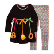 Bonnie Jean® 2-pc. Boo Ornaments Top and Leggings Set - Toddler Girls 2t-4t