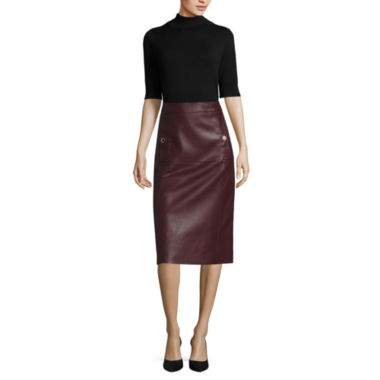 jcpenney.com | Liz Claiborne® Elbow-Sleeve Turtleneck or Faux-Leather A-Line Skirt