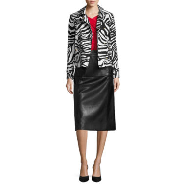 jcpenney.com | Liz Claiborne® Zebra Trench Coat, Criss-Cross Top or Faux-Leather A-Line Skirt