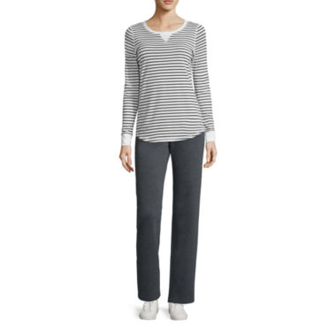 jcpenney.com | Made for Life™ Long-Sleeve Striped Tee, Quilted Vest or Basic Fleece Pants