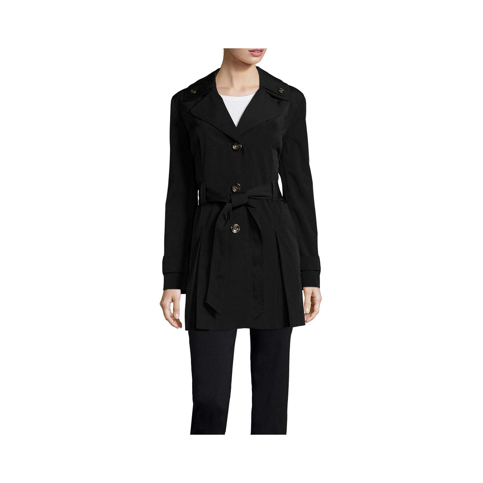 Liz Claiborne Double Collar Belted Trench Coat plus size,  plus size fashion plus size appare