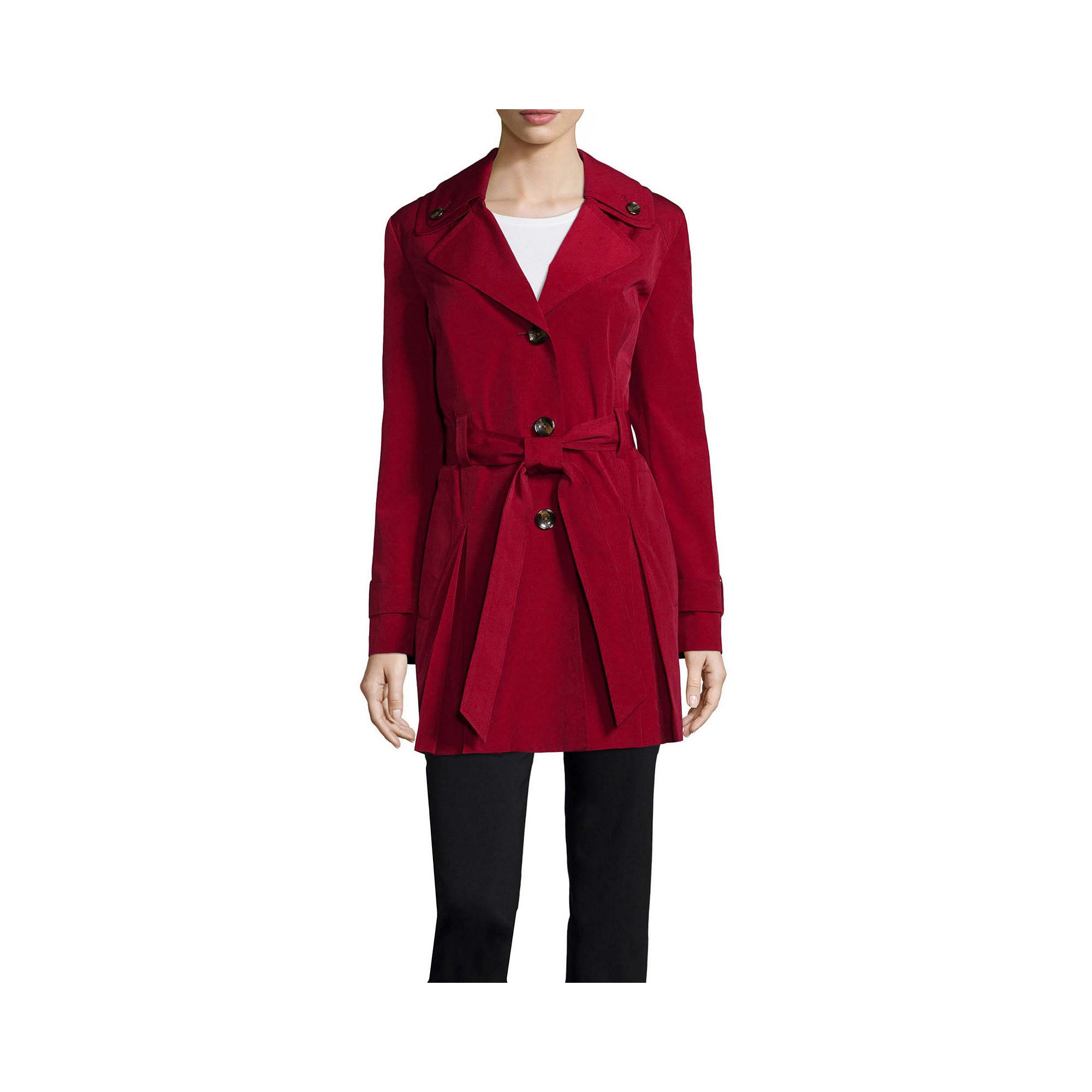 Liz Claiborne Double Collar Belted Trench Coat - Tall plus size,  plus size fashion plus size appare