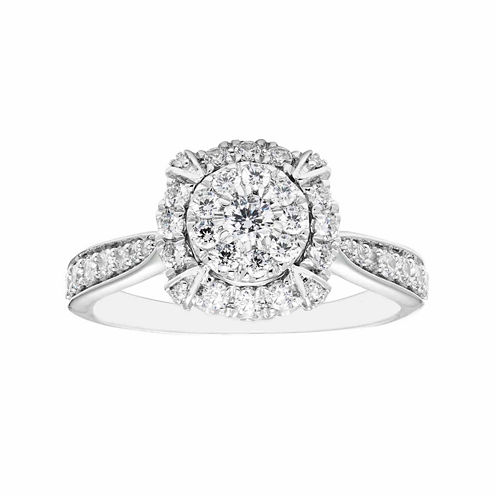 Enchanted Fine Jewelry By Disney Enchanted By Disney Womens 3/4 CT. T.W. Genuine Round Diamond 14K Gold Engagement Ring