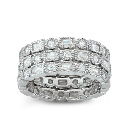 Diamonart Womens 4 CT. T.W. Lab Created Round White Cubic Zirconia Sterling Silver Band