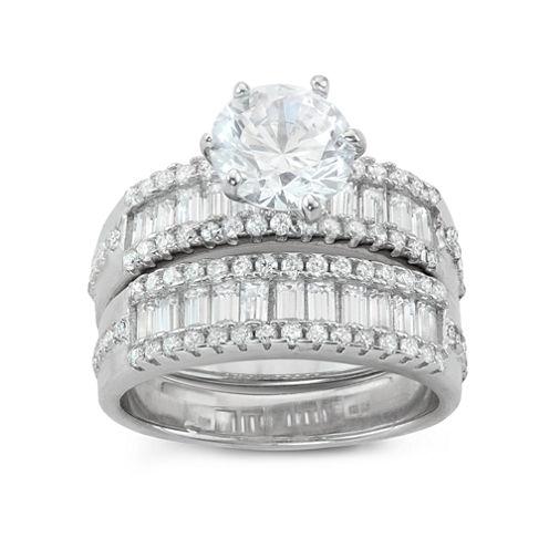 Diamonart Womens 4 CT. T.W. Lab Created White Cubic Zirconia Sterling Silver Bridal Set