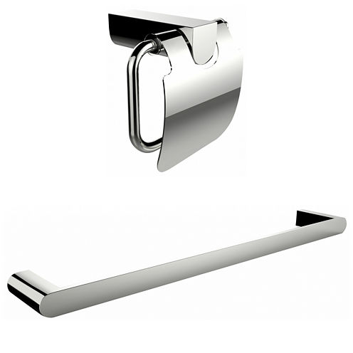 American Imaginations Chrome Plated Toilet Paper Holder With A Single Rod Towel Rack Accessory Set