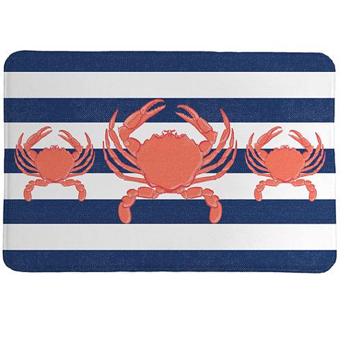 Laural Home Crab Stripe Memory Foam Bath Rug