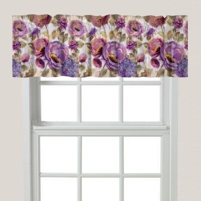 Laural Home Purple Floral Garden Rod-Pocket Tailored Valance