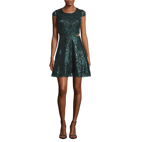 My Michelle Short Sleeve Cut Out Party Dress-Juniors