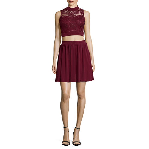 Speechless Sleeveless Embroidery Party Dress-Juniors