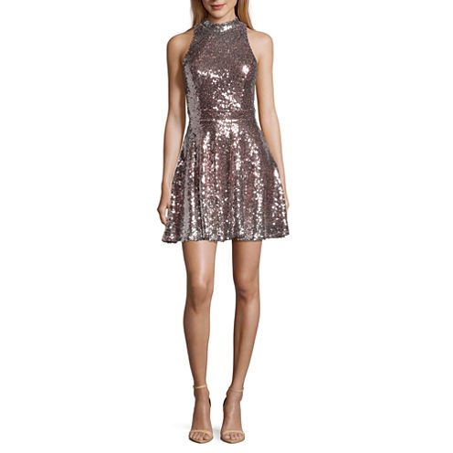 City Triangle Sleeveless Silver Sequin Party Dress-Juniors