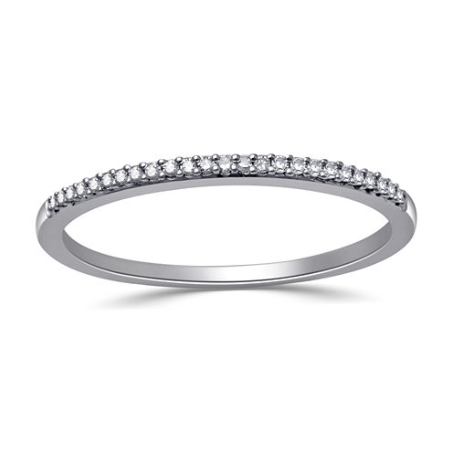 Womens Diamond Accent Genuine White Diamond Sterling Silver Wedding Band
