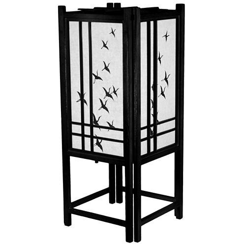 "Oriental Furniture 18"" Cranes Shoji Table Lamp"""