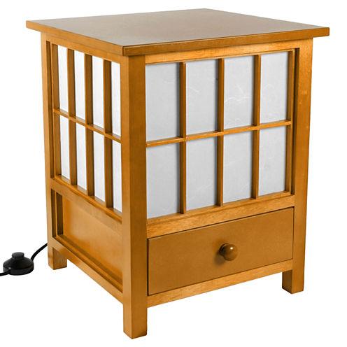 "Oriental Furniture 19"" Hokkaido Table Lamp with Drawer"""