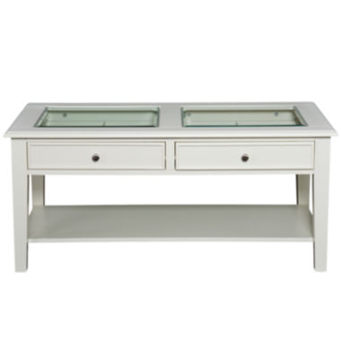 jcpenney.com | At Home Design 2-Drawer Glass Top Coffee Table