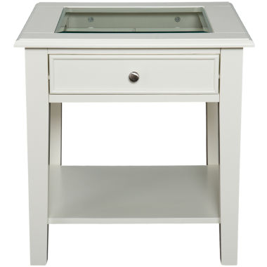 "jcpenney.com | At Home Design Glass Top Single-Drawer 22"" End Table"