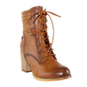 Olivia Miller Lace-Up Womens Ankle Booties