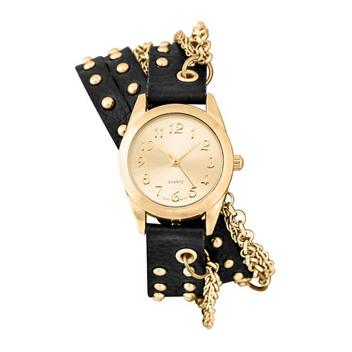 Decree® Womens Gold-Tone Chain Wrap Watch