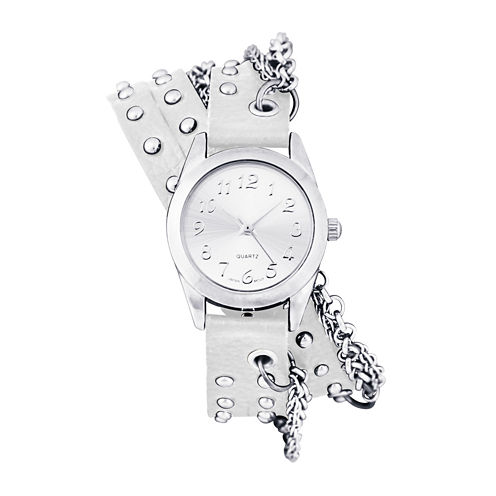 Decree® Womens Silver-Tone Chain Wrap Watch