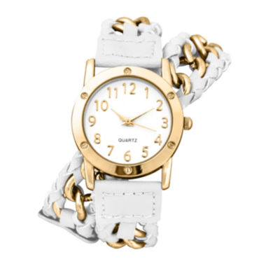 jcpenney.com | Decree® Womens Chain-Link White Strap Wrap Watch